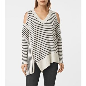All Saints Able Stripe Open Shoulder Sweater